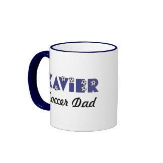 Xavier in Soccer Blue Ringer Coffee Mug