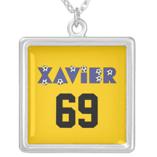 Xavier in Soccer Blue Personalized Necklace