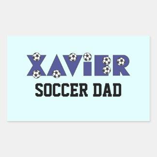 Xavier in Soccer Blue Rectangular Sticker