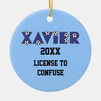 Xavier in Soccer Blue Round Ceramic Decoration
