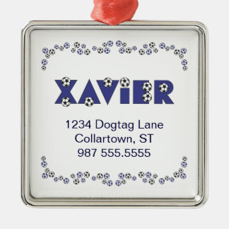 Xavier in Soccer Blue Silver-Colored Square Decoration