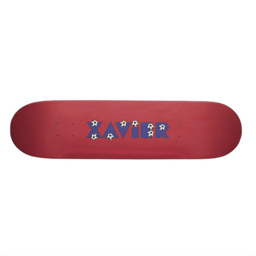 Xavier in Soccer Blue Skateboard Deck