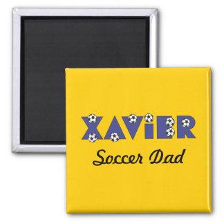 Xavier in Soccer Blue Square Magnet