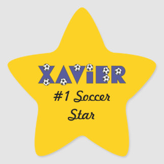 Xavier in Soccer Blue Star Sticker