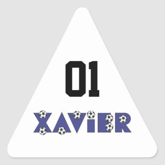 Xavier in Soccer Blue Triangle Stickers