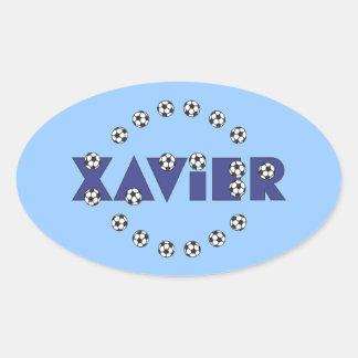 Xavier in Soccer Blue Oval Stickers