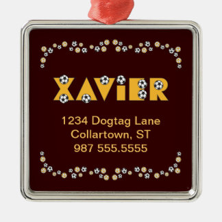 Xavier in Soccer Gold Christmas Tree Ornaments