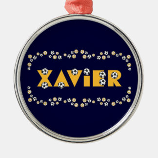 Xavier in Soccer Gold Silver-Colored Round Decoration