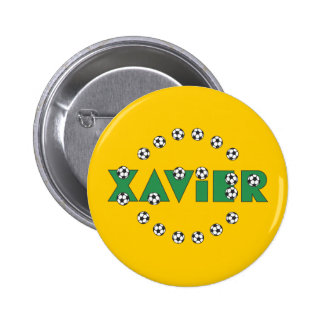 Xavier in Soccer Green Pinback Buttons