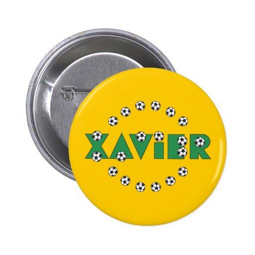 Xavier in Soccer Green Pinback Buttons