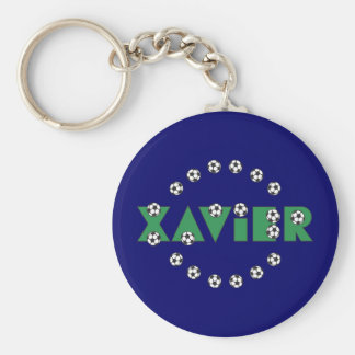 Xavier in Soccer Green Basic Round Button Key Ring