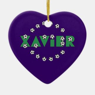 Xavier in Soccer Green Ceramic Heart Decoration