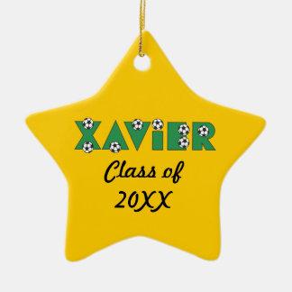 Xavier in Soccer Green Ceramic Star Decoration