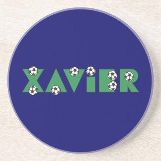 Xavier in Soccer Green Beverage Coasters