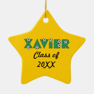 Xavier in Soccer Green Christmas Ornaments