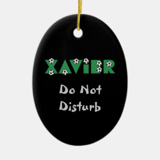 Xavier in Soccer Green Ornament