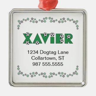 Xavier in Soccer Green Christmas Ornaments