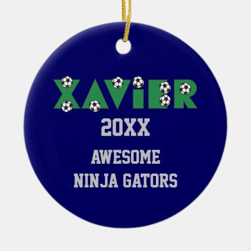 Xavier in Soccer Green Christmas Tree Ornament