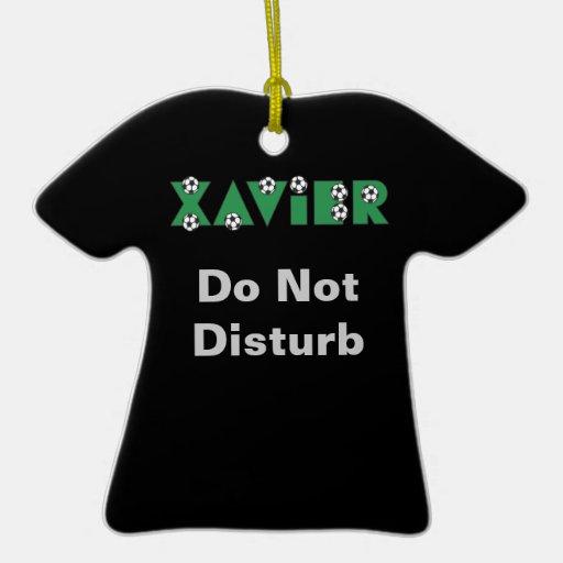 Xavier in Soccer Green Ornaments
