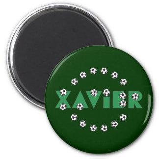 Xavier in Soccer Green Fridge Magnets