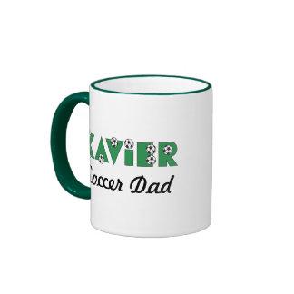 Xavier in Soccer Green Ringer Coffee Mug