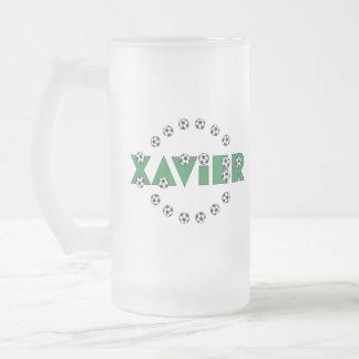 Xavier in Soccer Green 16 Oz Frosted Glass Beer Mug