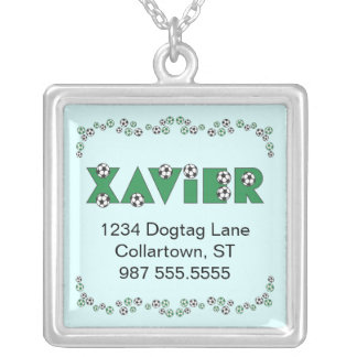 Xavier in Soccer Green Square Pendant Necklace