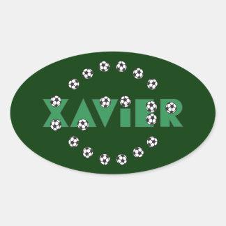 Xavier in Soccer Green Oval Sticker
