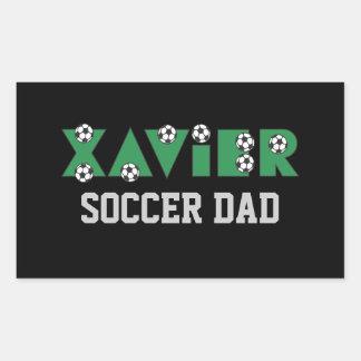 Xavier in Soccer Green Rectangular Sticker