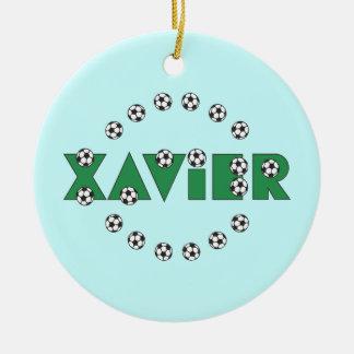 Xavier in Soccer Green Round Ceramic Decoration