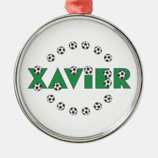 Xavier in Soccer Green Silver-Colored Round Decoration