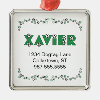 Xavier in Soccer Green Silver-Colored Square Decoration