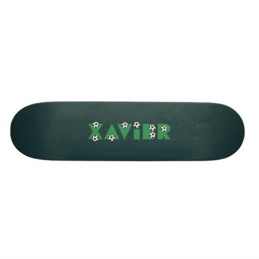Xavier in Soccer Green Skate Deck