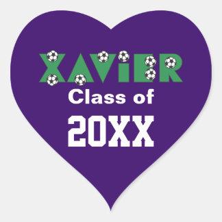 Xavier in Soccer Green Heart Sticker