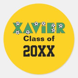 Xavier in Soccer Green Round Sticker