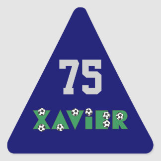 Xavier in Soccer Green Triangle Stickers