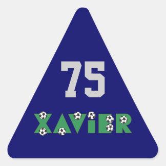 Xavier in Soccer Green Triangle Sticker