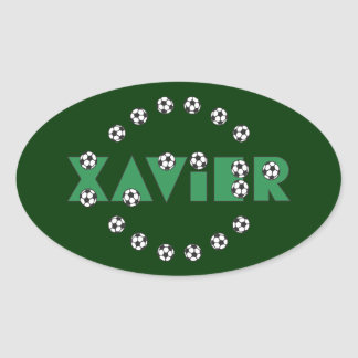 Xavier in Soccer Green Sticker