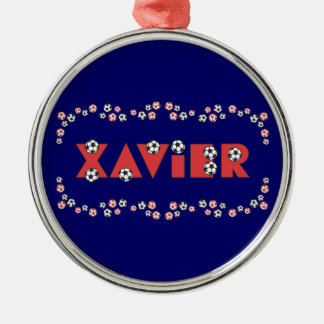 Xavier in Soccer Red Christmas Ornaments
