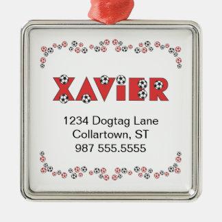 Xavier in Soccer Red Christmas Tree Ornament