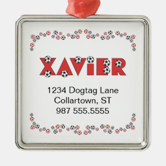 Xavier in Soccer Red Silver-Colored Square Decoration