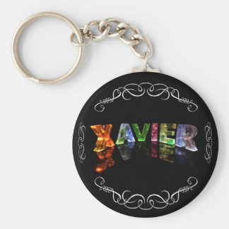 Xavier  - The Name Xavier in 3D Lights (Photo) Basic Round Button Key Ring