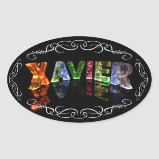 Xavier  - The Name Xavier in 3D Lights (Photo) Oval Sticker