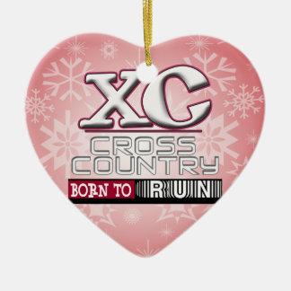 XC CROSS COUNTRY MOTTO BORN TO RUN MAROON CERAMIC ORNAMENT