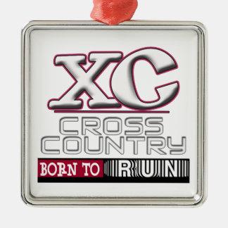 XC CROSS COUNTRY MOTTO BORN TO RUN MAROON METAL ORNAMENT