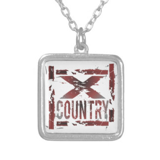 XC Cross Country Runner Square Pendant Necklace