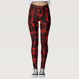 XCAPE DANCE hypnotize LETTER Red/Black spiral Leggings