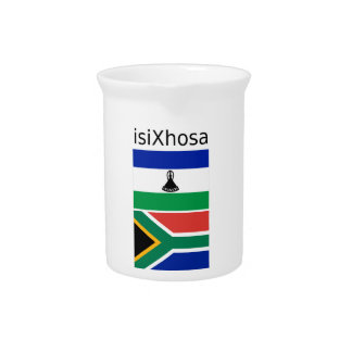 Xhosa Language And South Africa/Lesotho Flags Pitcher