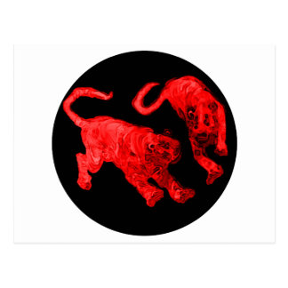 Xian China 2002 Red Ghost Tigers Black Circle Tran Postcard