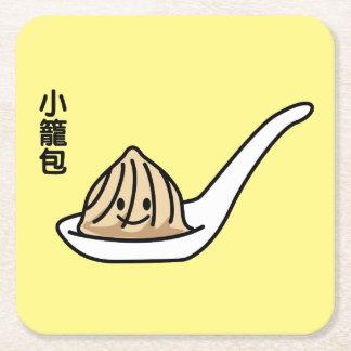 Xiaolongbao Chinese Soup Dumpling Dim Sum Bun Square Paper Coaster